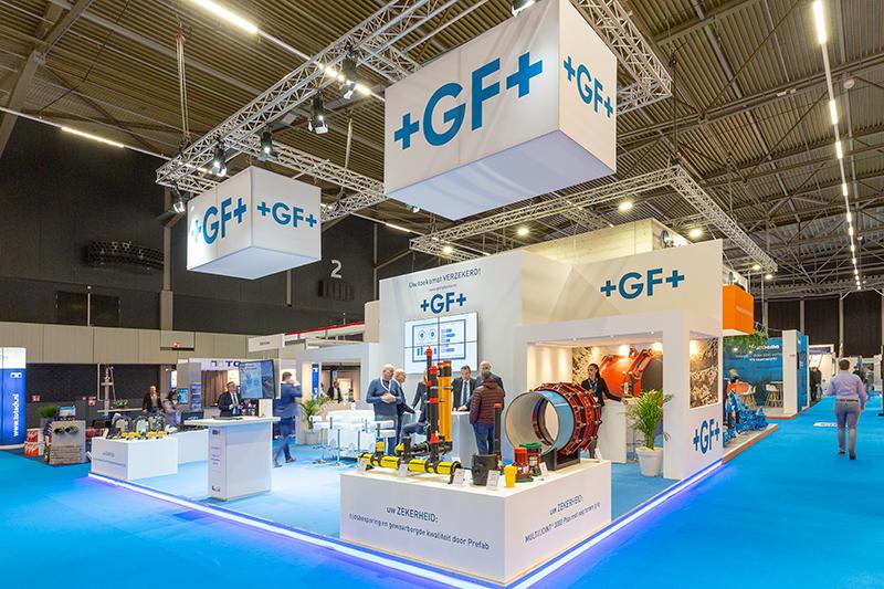Houtbouw stand op Infratech voor Georg Fisher - Standbouw.nl